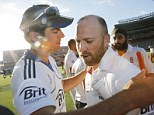 Thanks mate: Prior gets a hug from captain Alastair Cook as he leaves the field