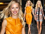 What a difference a day makes! Karolina Kurkova shows off two stunning outfits in a matter of hours