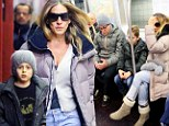 Sarah Jessica Parker gets on the New York Subway on Monday