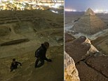 A group of Russian tourists captured the view from the top of one of the Seven Wonders of the World after scaling Egypt's Great Pyramid at dusk