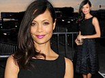 Thandie Newton shows her demure side in black floaty frock and fuchsia lips at LA premiere of TV show Rogue