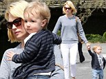 Day of fun: January Jones spent the day in Pasadena with son Xander, on Monday