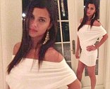 Adriana Lima showed off her figure in a white dress on Twitter on Sunday