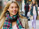 Jessica Hart is all smiles while out and about in NYC on Monday