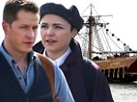 Ginnifer Goodwin, Josh Dallas, Emilie de Ravin, Lana Parrilla and Colin O'Donoghue film scenes onboard Captain Hook's pirate ship for their hit show Once Uopn A Time in Vancouver, Canada