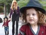 No sports shirts allowed! Rachel Zoe dresses up her little man Skyler in chic hat and cardigan for playdate