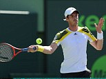 On his way: Andy Murray hits a forehand shot on his way to beating Marin Cilic 6-4