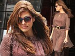 Pretty in polka dots! Eva Mendes steps out in ethereal frock and ankle boots for business meeting