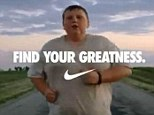 Nike star: In the ad, Nathan slowly jogs down a country road, panting heavily as a voiceover says: 'Greatness is no more unique to us than breathing. We¿re all capable of it. All of us'