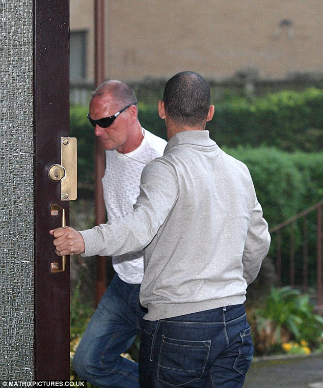 Thin but sober: Paul Gascoigne arriving at his home yesterday looking frail
