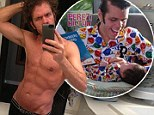 Perez Hilton takes time off dad duty to admire his abs in mirror