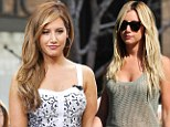 New look: Ashley Tisdale showed off her new dark tresses in Hollywood, on Tuesday