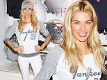 Making baseball sexy! Jessica Hart shows her support for the Yankees as she models Victoria's Secret sportswear