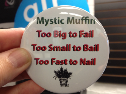 At Artik we made this button for Mystic Muffin