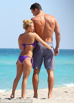 Doting pair: Hayden and Wladimir have got over the height difference between them, with Hayden making the most of her diminutive stature by putting her hand in Wladimir's pocket