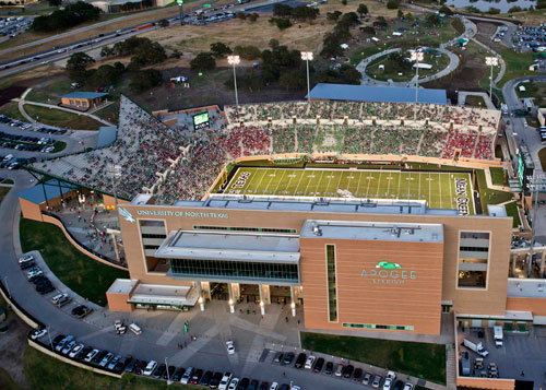 Aerial view of the University of North Texas Apogee Stadium, Denton, Texas.
