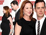 Oh baby! Tom Hanks' son Colin Hanks and his pregnant wife Samantha Bryant at the premiere of the play Lucky Guy in New York on Monday
