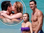 A kiss for my fiancé! Hayden Panettiere sports a fringed bikini as she cuddles up to Wladimir Klitschko amid engagement rumours