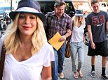 Happy couple: Tori Spelling was spotted on a family outing with husband Dean McDermott and his son Jack in Beverly Hills, on Wednesday