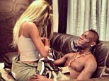 Saucy: Mario Balotelli's girlfriend Fanny Neguesha posted this picture of the pair on her Instagram page