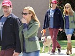 His two leading ladies! Jon Hamm takes a sunny stroll with girlfriend Jennifer Westfeldt and dog Cora
