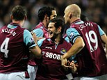 West Ham United celebrate Matt Jarvis goal against QPR