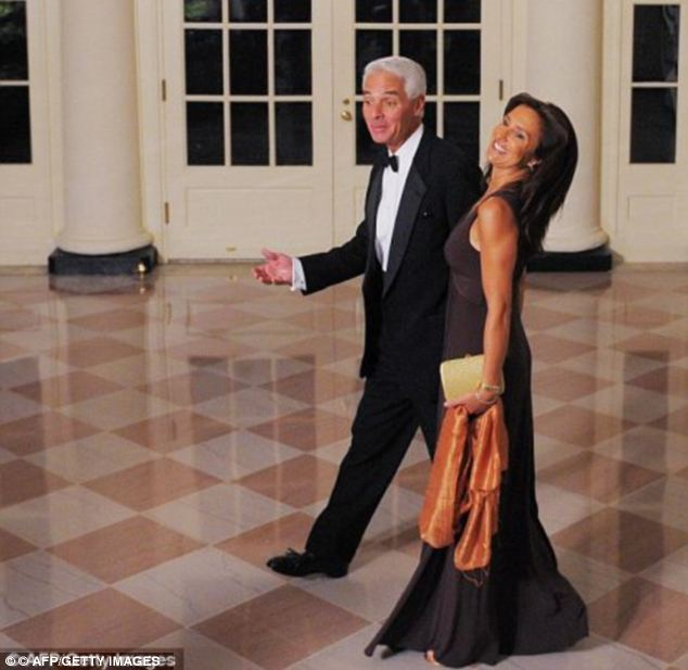 Public life: Charlie Crist and wife Carole attending the annual Governor's dinner at the White House in 2009 while he was still in office