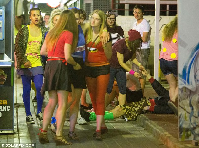 Booze-fuelled: The holiday, pictured last week, is notorious for students' heavy drinking