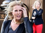 Real Housewives star Vicki Gunvalson and new post-plastic surgery face get caught in a wind tunnel