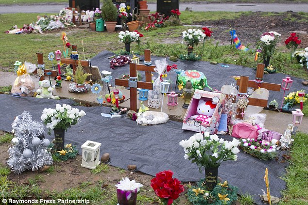 Lack of remorse: Six wooden crosses mark the graves of the Philpott children which Philpott intended to visit after his release from prison, but not before getting drunk first
