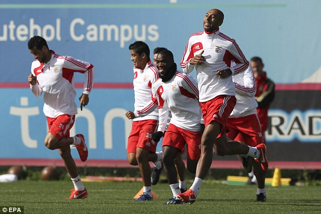 Hot streak: Benfica, in training ahead of the Newcastle tie, are in great form in the Portuguese league
