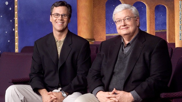 "Chicago Sun-Times columnists Richard Roeper, left, and Ebert promote their television series ""Roger Ebert & the Movies,"" in this undated photo."