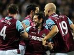 West Ham United celebrate Matt Jarvis goal against QPR