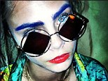 That's... different: Cara Delevingne shows off her newly dyed blue eyebrows on her Instagram page for her latest quirky look