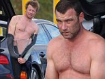 Battle of the torsos! It's The Mentalist vs Sabretooth as competitive friends Liev Schreiber and Simon Baker strip off