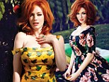 Colorful cover girl: Radiant red head Christina Hendricks sizzles in yellow Stella McCartney dress for Flare Magazine's May issue