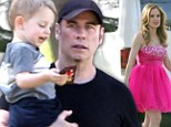 Inappropriate in pink: John Travolta takes son Ben to visits wife Kelly Preston on set as she films new pilot wearing a bridesmaid dress to a funeral