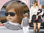 He's one cool customer! Kourtney Kardashian's son Mason wears fashion forward sunglasses just like his mother as they head to Sunday church