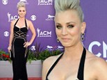 On point: Kailey Cuoco wows on the ACM Awards red carpet in a angled pattern gown and show stopping pompadour hairstyle