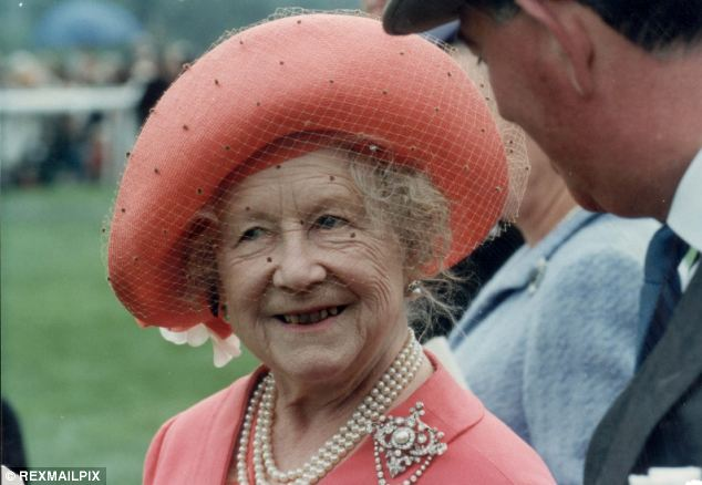 All smiles: The Queen Mother, pictured at Epsom in 1991, said Lt Dent made her 'laugh out loud' and joked about her ears being 'very small'