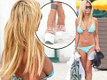 Nevermind my shoes! Shauna Sand's takes the attention off her favourite sky-high heels by flaunting some serious side boob in a too small bikini