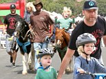 Liev Schreiber took his boys Alexander and Samuel to the Farmers Market on Sunday morning