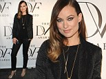 'Gloria Steinem will not escape my bear hug': Olivia Wilde dons black textured power-suit for the DVF Awards