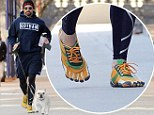 Hugh Jackman walks Dali to the gym then brings Oscar Jackman for lunch in Central Park