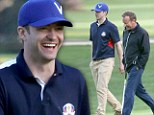 Swing time! Justin Timberlake enjoys male bonding on the golf course with pal Kiefer Sutherland