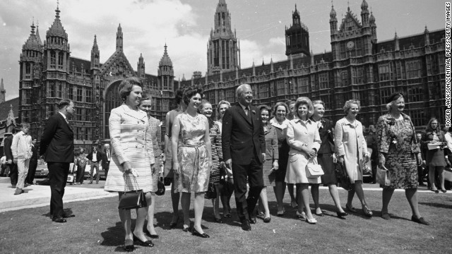 Prime Minister Edward Heath with 13 of 15 newly elected Conservative women members of Parliament outside the House of Commons in June 1970. Thatcher became secretary of state for education and science under Heath.