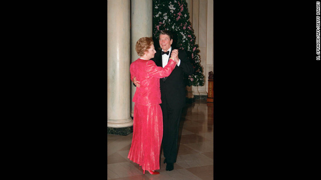 Thatcher dances with Reagan in November 1988 following a state dinner given in her honor at the White House.