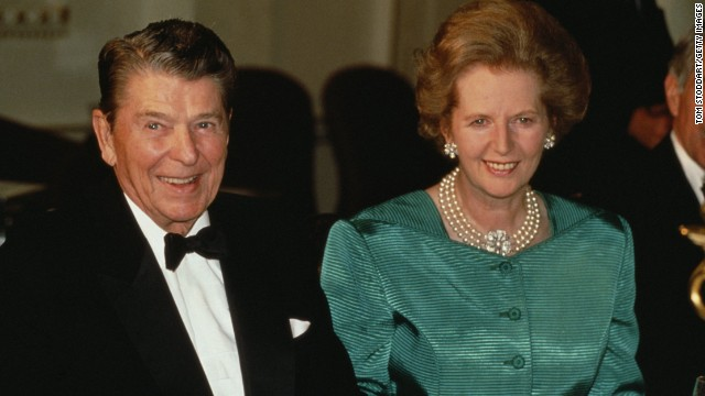 Thatcher and Reagan attend a formal event in January 1989.