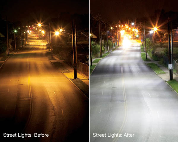 Solar Guys Commercial Street Lights before and after