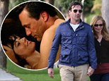 Mad Men star walks dog hand-in-hand with wife hours before alter-ego Draper returns to his cheating ways